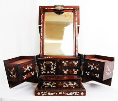 Vanity Folding Mirror Chinese Wood U0026 Mother Of Pearl Vanity Box With Folding Mirror