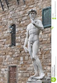 statue david by michelangelo in florence italy stock photo