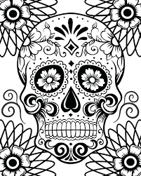 free printable coloring pages for adults sugar skulls and roses