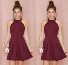cheap short bridesmaid dresses homecoming dresses burgundy halter