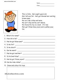 2nd Reading Comprehension Worksheets This Is John Simple Reading Comprehension Skole Engelsk