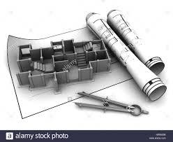 3d illustration of concrete building blueprints stock photo
