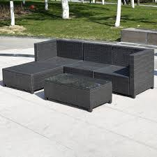 Black Wicker Patio Furniture - amazon com giantex outdoor patio 5pc furniture sectional pe