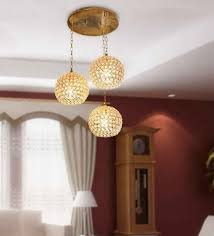 home lighting design bangalore the brighter side golden crystal hanging light set of 3 for