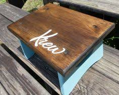 personalized toddler or kids step stool with walnut stain and your