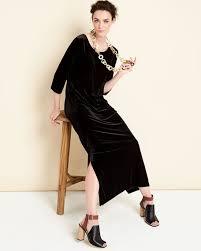 joan vass 3 4 sleeve velour long dress black petite