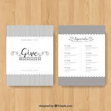 grey thanksgiving menu template vector free