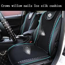 siege auto avant voiture couronne rivets coussin de siège de voiture noir d été en soie de
