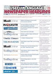 Flag Day Reading Comprehension Worksheets Newspaper Headlines Useful Language Interactive Worksheet