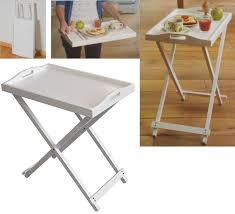 serving tray side table folding white wooden portable butler breakfast dinner serving tray
