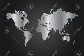 World Map Vector Image Of A Black And Silver World Map Vector Illustration On