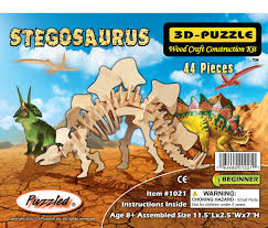 amazon com puzzled stegosaurus dinosaur 3d woodcraft construction