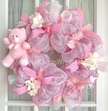white deco mesh deco mesh baby girl wreath pink white baby door hanger baby