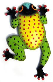 tropical frog design haitian metal 9 x 13 1 2
