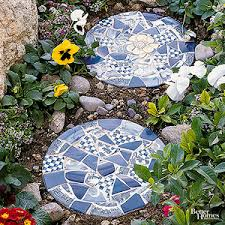 tile topped stepping stones