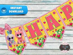 instant download beanie boo banner birthday onestopkids