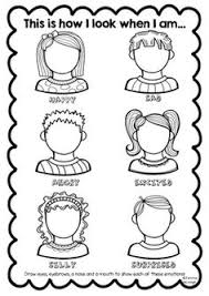 emotions worksheet for children draw the faces ot self