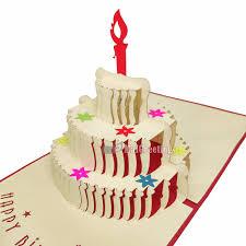 3d red birthday cake pop up card vietnam 3d pop up cards