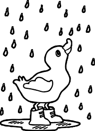 rain duck april coloring page wecoloringpage