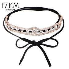 leather bow necklace images 17km collar flower crystal long choker necklace layer 2017 bow jpg