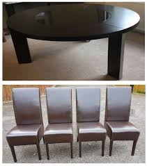 does round table deliver large dark wenge round table 4 dark brown faux leather chairs free