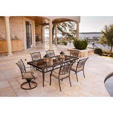 traditions 7 piece dining set in tan with extra large glass top