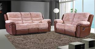 Fabric Recliner Sofa Furniture Combination Of Leather And Fabric Reclining Sofa And