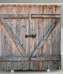Garage Door Murals For Sale Amazon Com Rustic Country Barn Wood Door Bath Shower Curtain