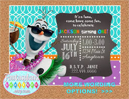 olaf inspired luau personalized party invitation turquoise