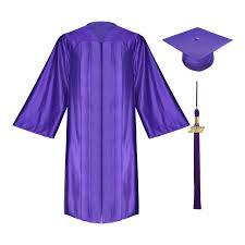 high school cap and gown shiny purple high school cap gown tassel gradshop