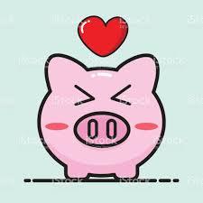 Heart Shaped Piggy Bank Pig Cartoon Vector Design For Valentine Day Stock Vector Art