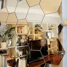 mirror home decor regular hexagon honeycomb decorative 3d acrylic mirror wall