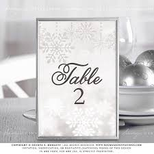winter wonderland table numbers winter wedding signs snowflake wedding signs silver grey wedding