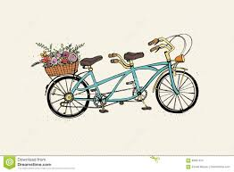 hand drawn tandem city bicycle with basket of flower vintage