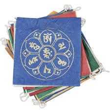 paper prayer flag om lotus 8 ft long handmade and fair trade