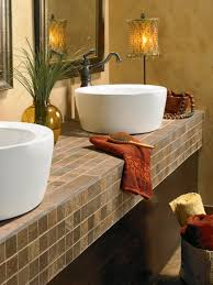 One Piece Bathroom Vanity Tops by Tile Bathroom Countertops Hgtv