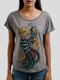 peacock multicolor on heather grey triblend womens dolman t