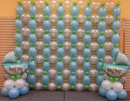 baby shower wall decorations blue and white baby shower decor link o loon wall in pearl balloon