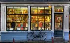 bicycles books book store rain walldevil