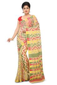dhakai jamdani saree online gorgeous multi color jamdani cotton saree with zig zag pattern