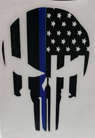 Subdued American Flag With Thin Blue Line Thin Blue Line Punisher Skull American Flag Support Law