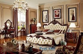 chambre a coucher baroque de luxe solide en bois et en cuir lit baroque chambre