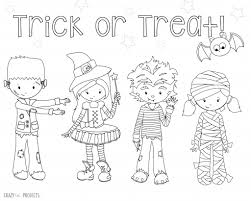 coloring book pages halloween trick treat tricking