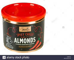 can or tin of spicy chilli roasted almonds stock photo royalty