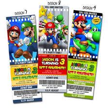 super mario birthday ticket invitations printable custom