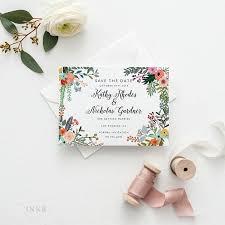 printable save the date printable romantic botanical wedding
