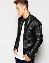racing biker jacket esprit faux leather biker jacket in black in black for men lyst