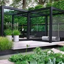 glass walls and white deck for contemporary garden design plans