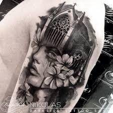 b u0026 g make up flowed notre dame tattoo by nikolas darkside best