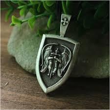 ebay necklace silver images Silver archangel st michael saint cross shield russian orthodox jpg
